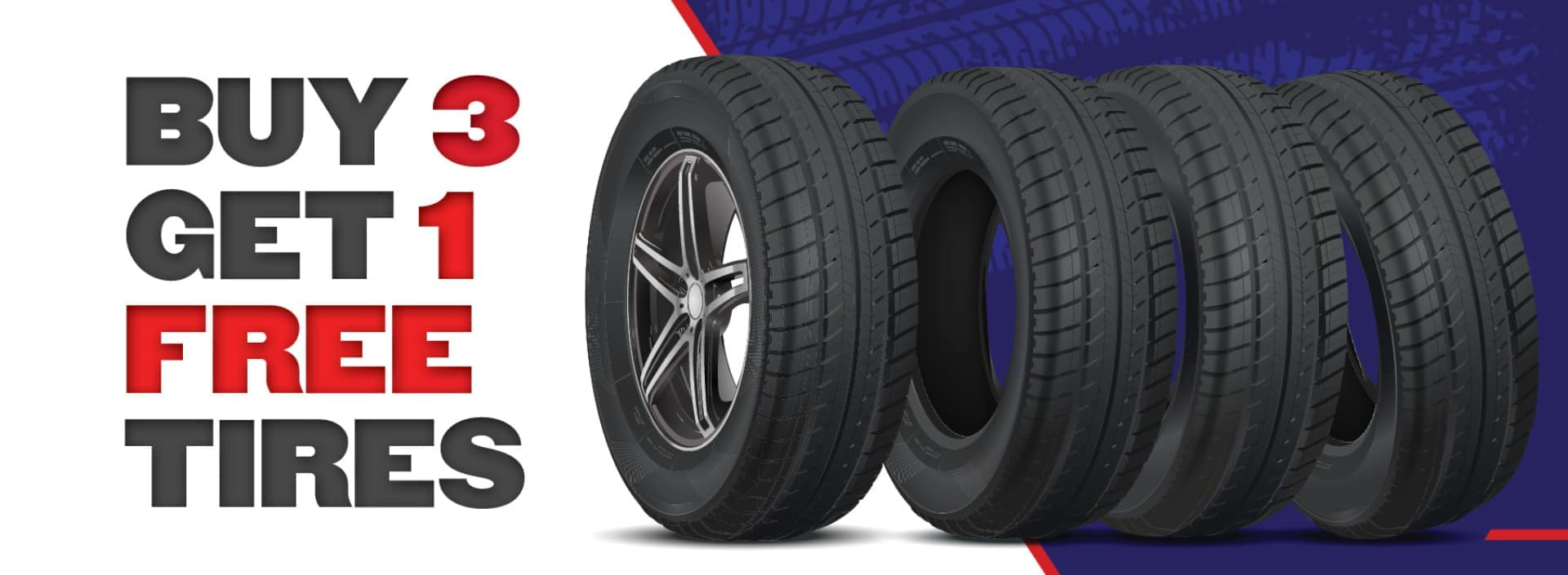 Buy 3 get 1 free tire banner