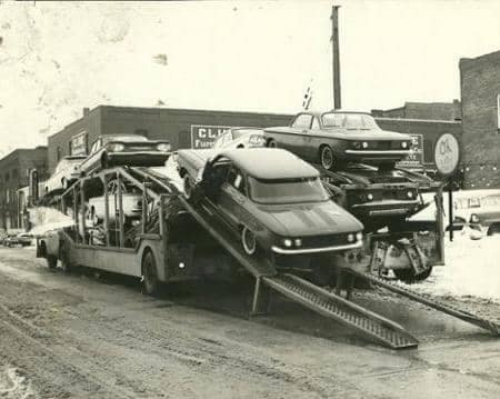 cars on a truck