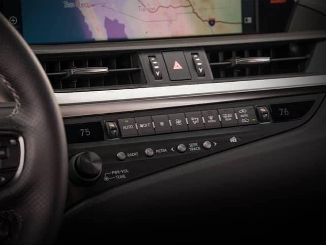 The dash of a Lexus vehicle.