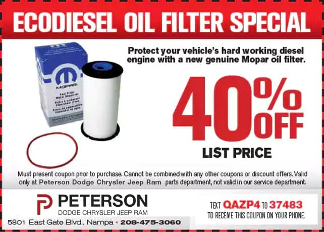 EcoDiesel Oil Filter Special