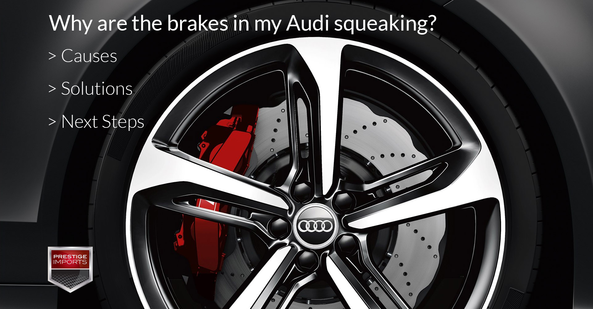 "Close-up photo of an Audi RS7 Wheel and Brake caliper, used to illustrate the article ""Why are my Audi brakes squeaking? Causes, Solutions, Next Steps""."