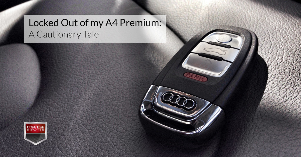 """Photo of an Audi key fob on the seat of an Audi A4. Used to illustrate the article """"Locked Out of my A4 Premium - A Cautionary Tale"""""""