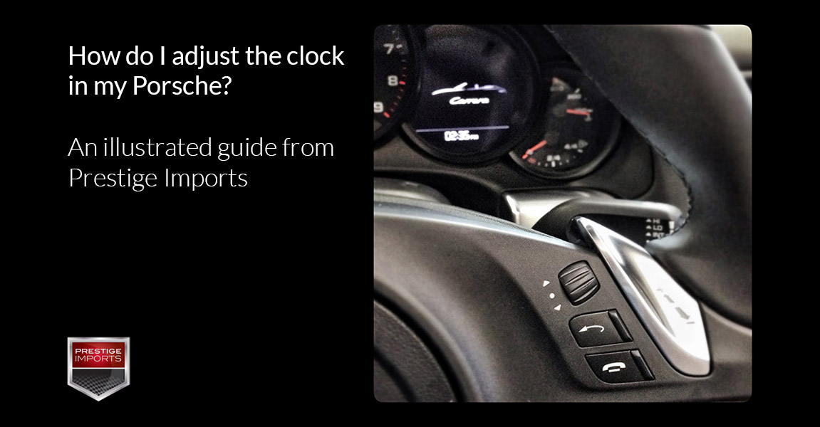 """Photo of Porsche steering wheel controls. Used to illustrate the article """"How do I adjust the clock in my Porsche?""""."""