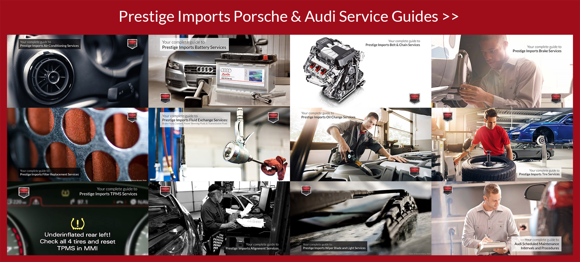 View Prestige Imports' Porsche and Audi Service Guides