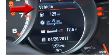 """How do I adjust the clock in my Porsche - Step 2 - Select """"Vehicle"""" on the Multi-Function Display"""