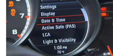 """How do I adjust the clock in my Porsche - Step 4 - In Dash display of Porsche Settings, """"Date and Time"""" Highlighted"""