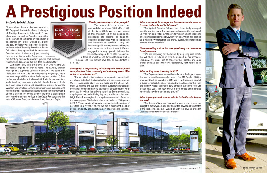 HighGear Article from April 2013, An interview with Prestige Imports General Gamager Justin Adis.
