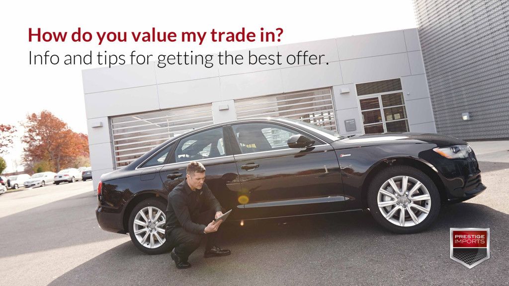 How do you value my trade in - A man evaluates a black Audi vehicle
