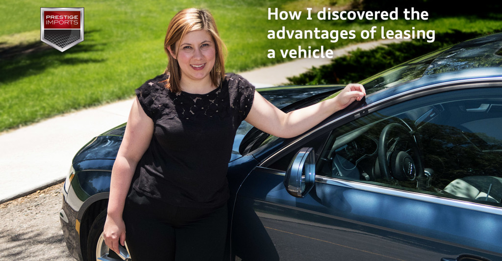 How I discovered the advantages of leasing a vehicle - Heather Pridemore with her Utopia Blue 2015 Audi A4 Premium Plus S-Line