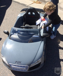 Emily Pridemore Breece with her electric Audi R8 GT Spyder