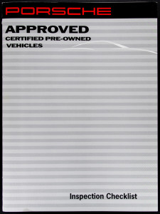Porsche Approved Certified Pre-Owned Vehicles Inspection Checklist - Cover