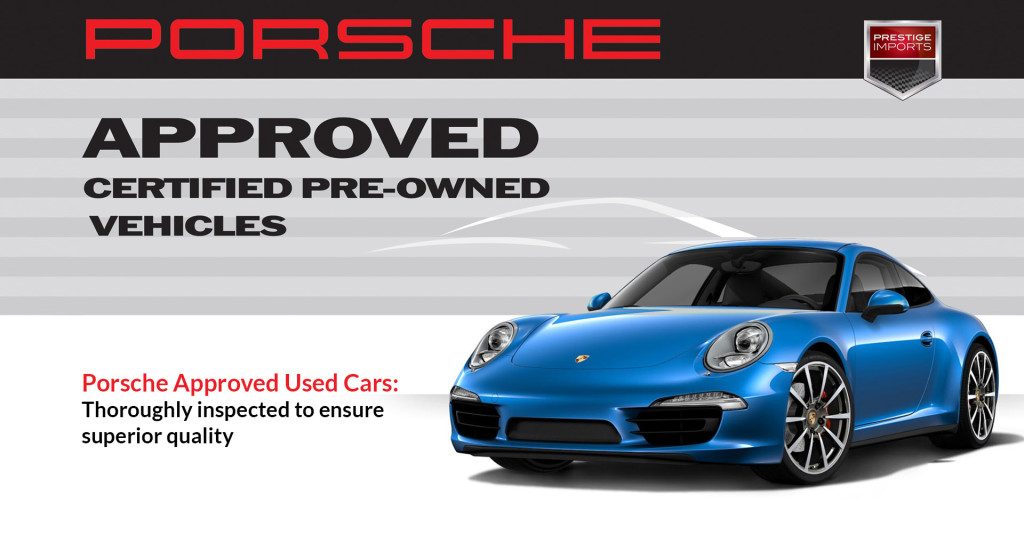 Photo of a Sapphire Blue Metallic Porsche 911 Carrera 4S in front of the Porsche Approved CPO banner. Image used to illustrate an article about the benefits of Porsche Approved used cars.