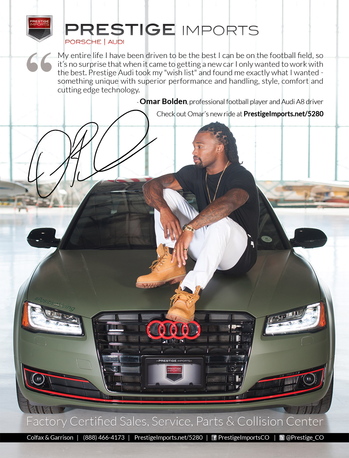 Print Ad featuring Omar Bolden's Audi A8L - Omar Bolden, professional football player and Aud A8 driver sits on the hood of his car.
