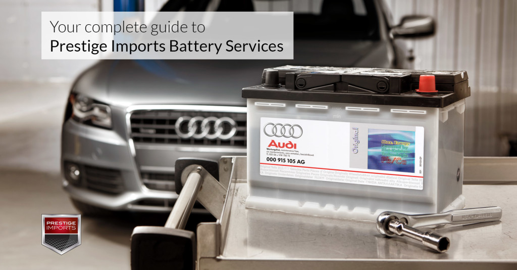 New Audi Battery sitting on a cart, Used to illustrate an article titled Prestige Imports Porsche and Audi Battery Services