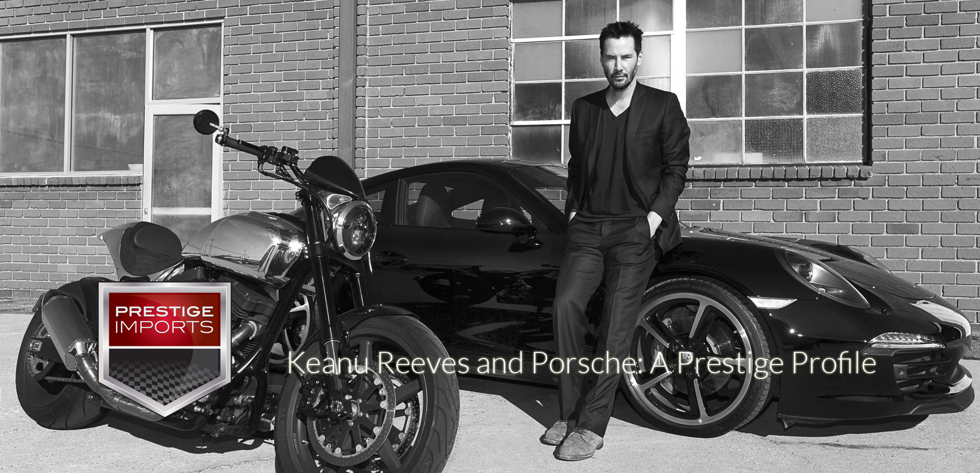Black and white photo of Keanu Reeves and his Porsche 991