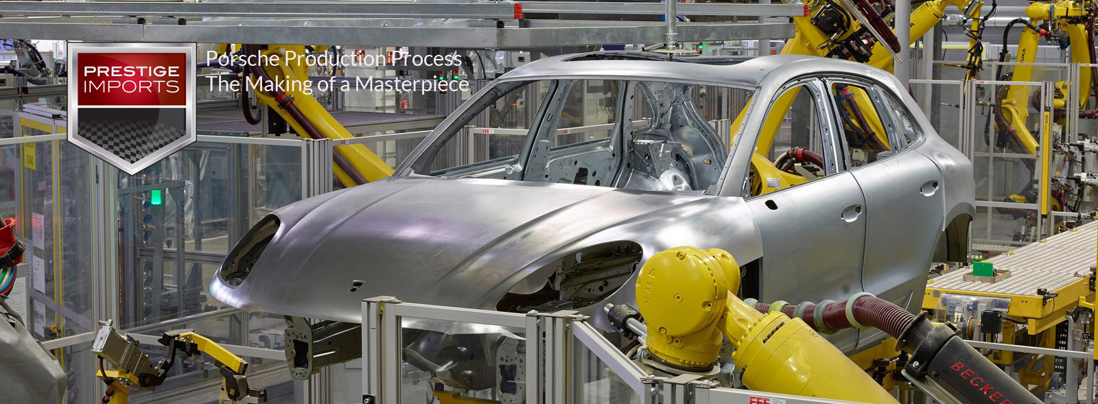 "Photo of a Porsche Macan on the assembly line - used to illustrate the article ""Porsche Production Process: The Making of a Masterpiece"""
