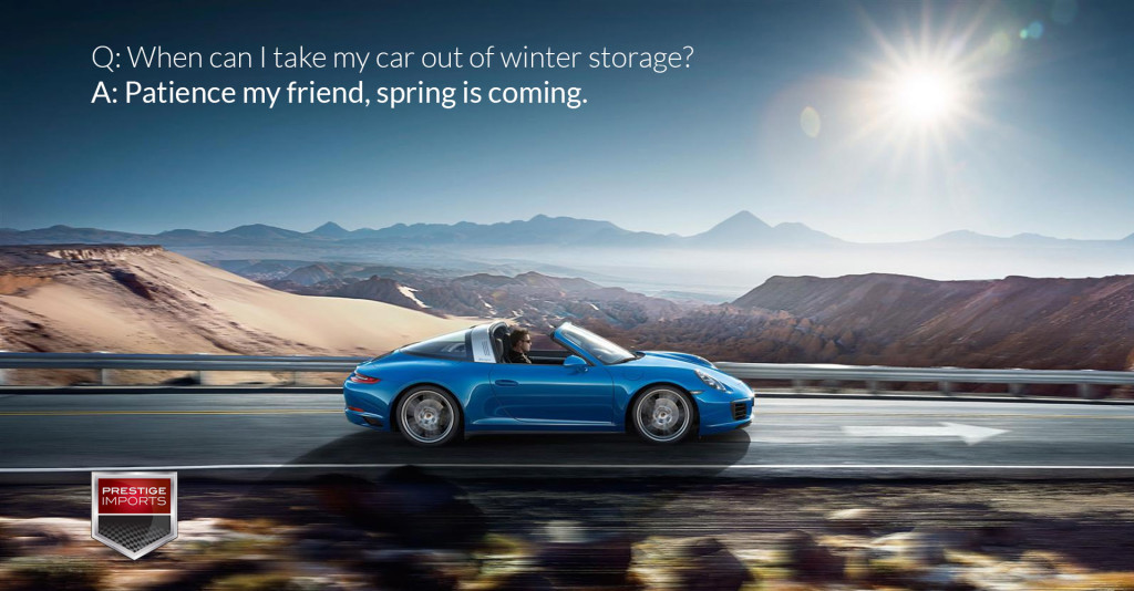 """Photo of a Porsche 911 Targa on the open road. Used to illustrate the article """"When can I take my car out of winter storage?"""""""