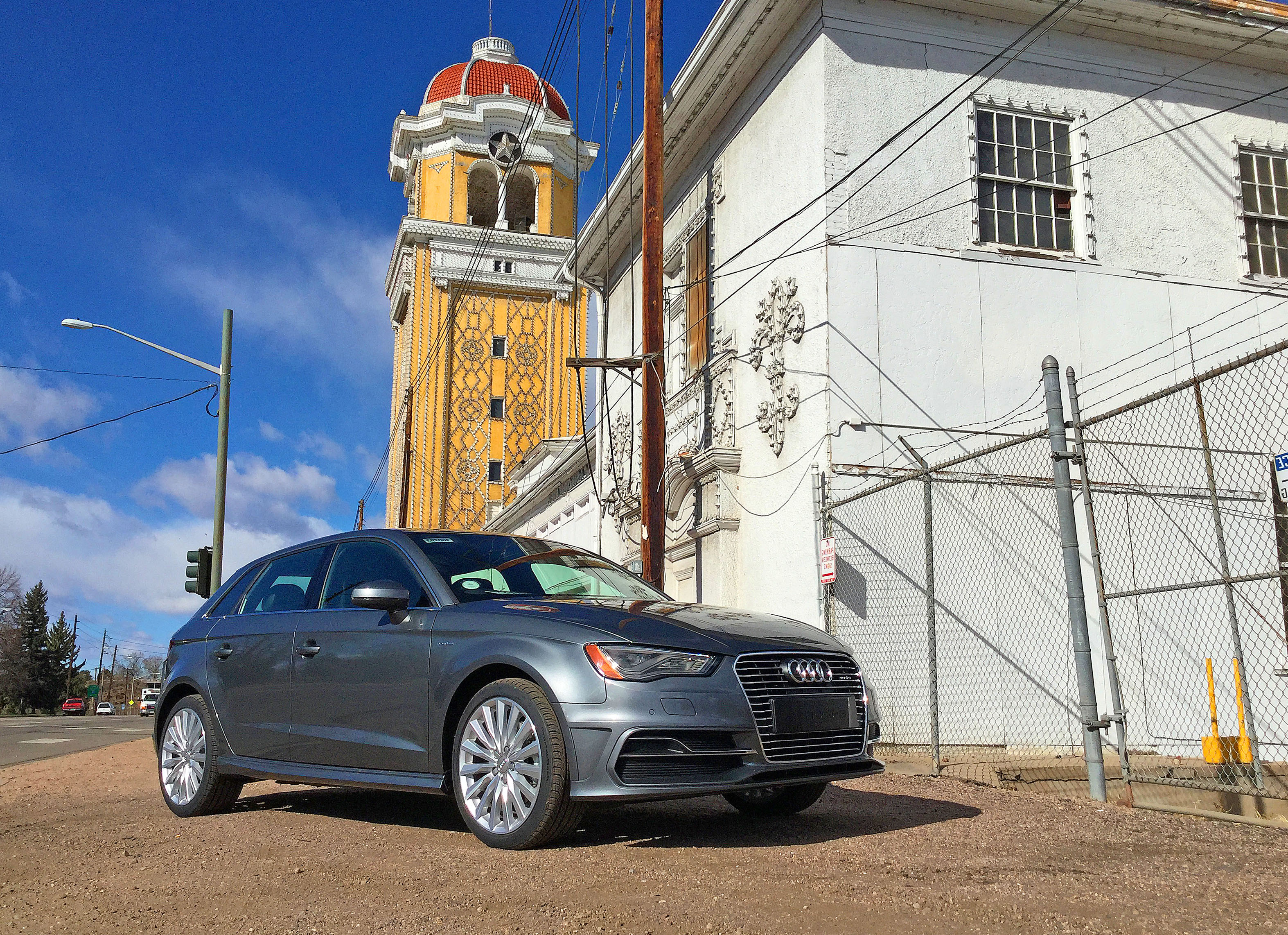 Audi A3 e-tron parked near Lakeside Amusement Park which sits immediately to the west of Denver's Berkeley neighborhood.