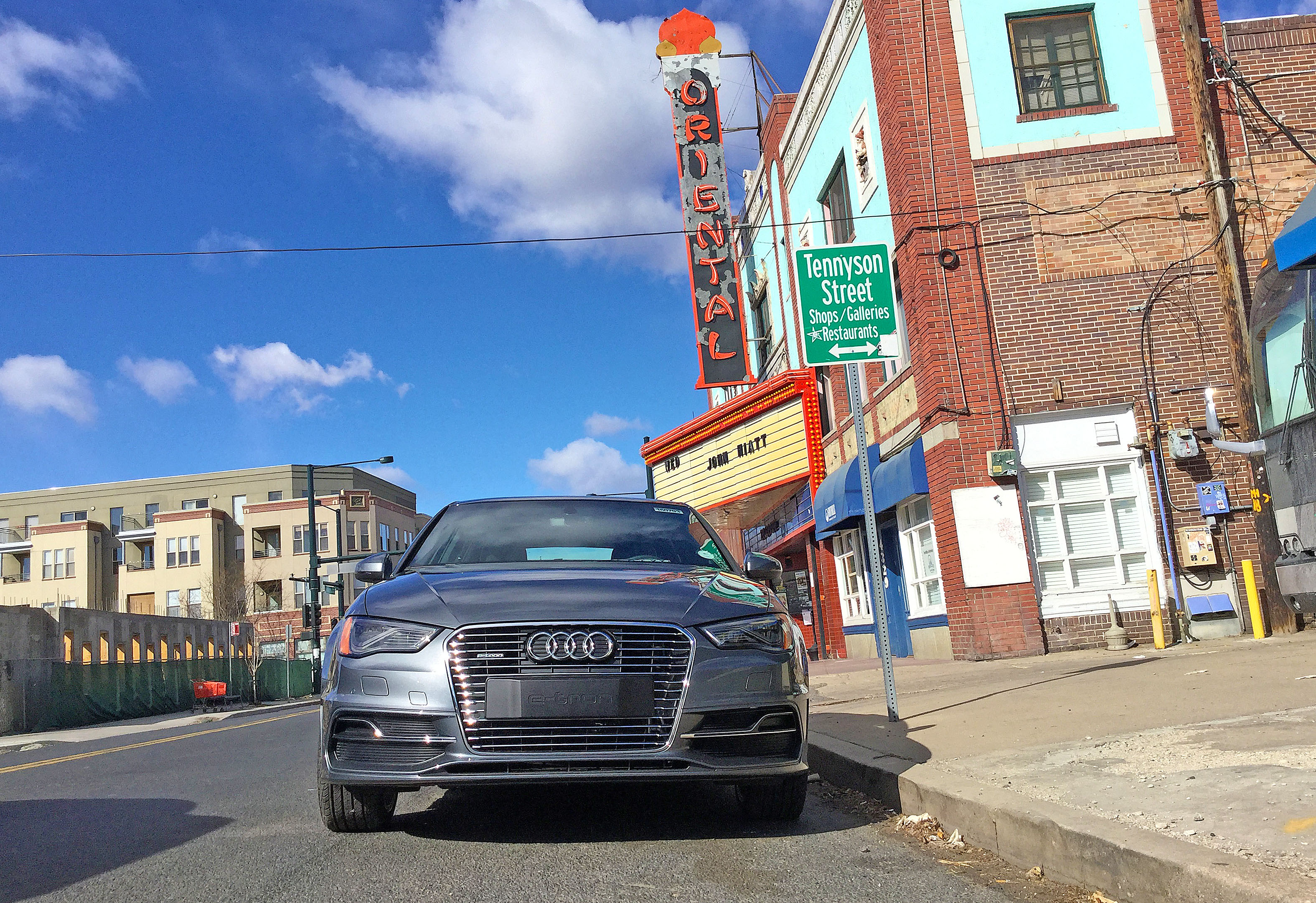 Audi A3 e-tron parked outside the Oriental Theater in Denver's Berkeley neighborhood