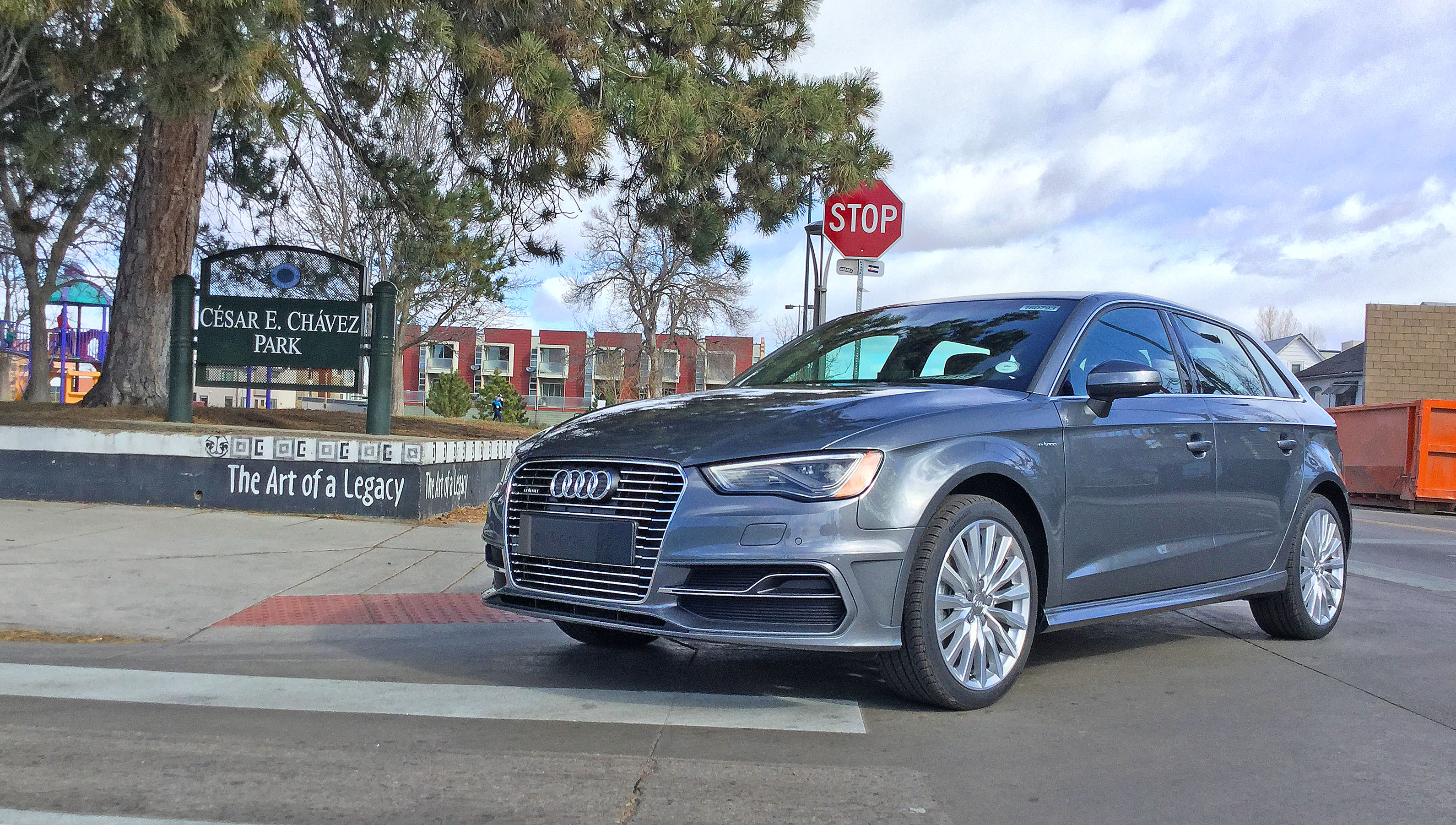 Audi A3 e-tron at Cesar Chavez Park, located at the intersection of Tennyson St. and W 41st Ave. in the Berkeley neighborhood of Denver, CO.