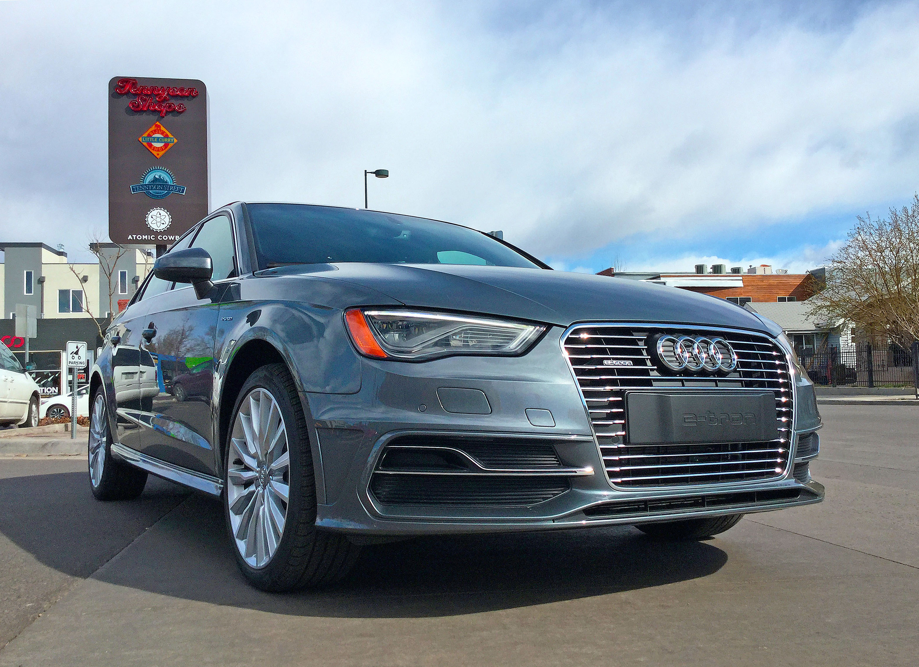 Audi A3 e-tron parked at the Tennyson Shops in Denver's Berkeley neighborhood.