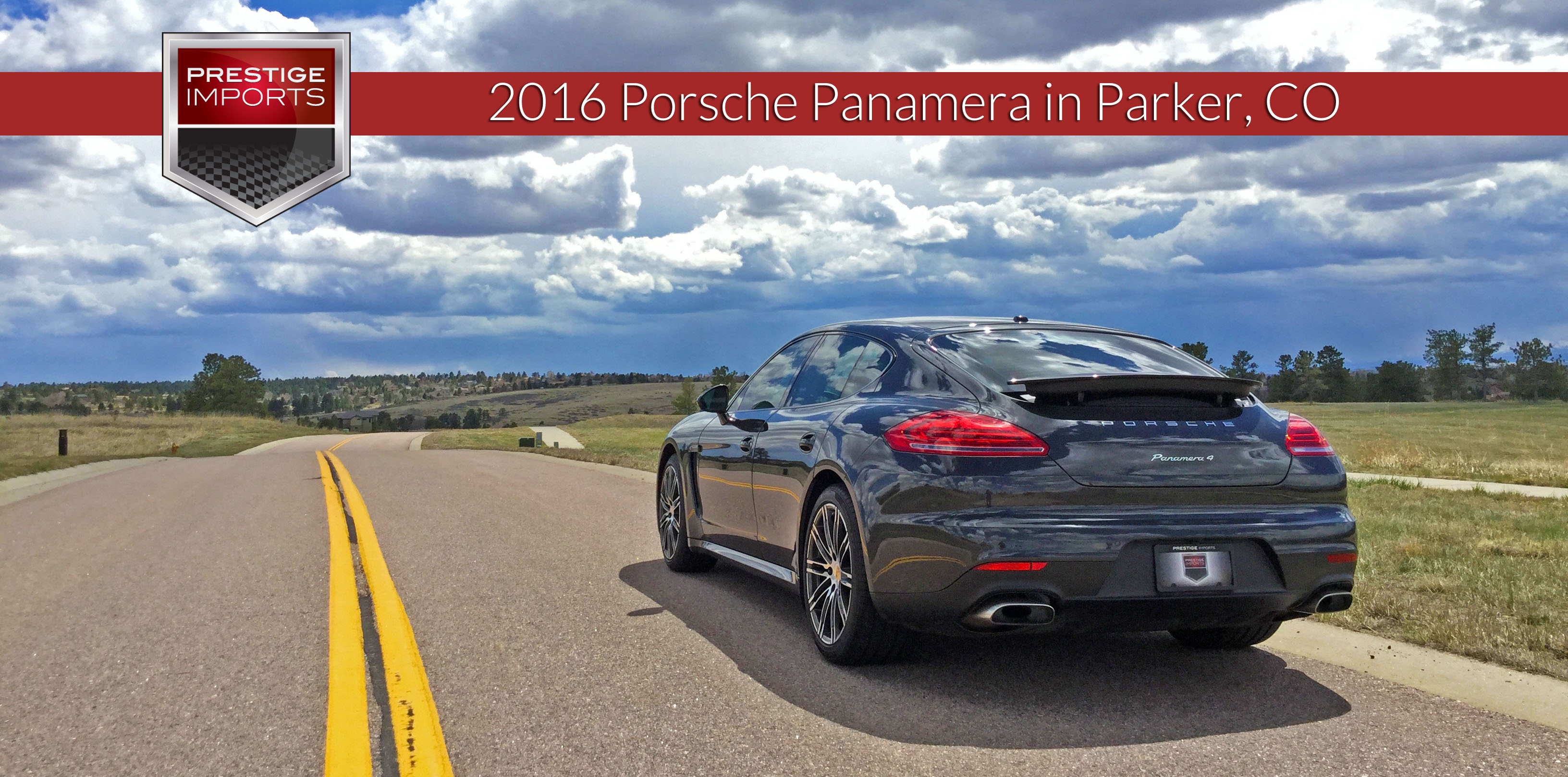 "Photo of the 2016 Porsche Panamera 4 on a country road. Used to illustrate the article ""Quick Porsche Panamera 4 review in beautiful Parker, CO"".Quick Porsche Panamera 4 review in beautiful Parker, CO"