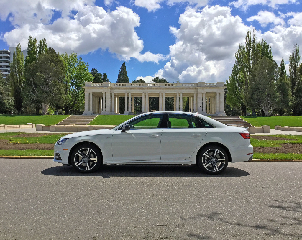 The all new 2017 Audi A4 parked on the street in Denver's Cheesman Park Neighborhood