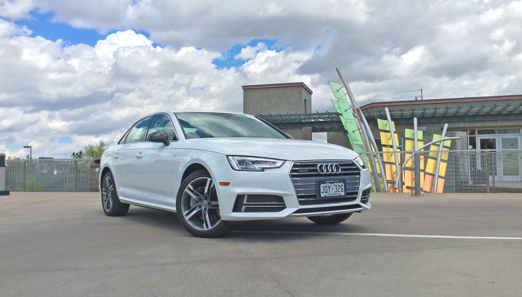The all new 2017 Audi A4 parked at the Denver Botanical Gardens in the Cheesman Park neighborhood