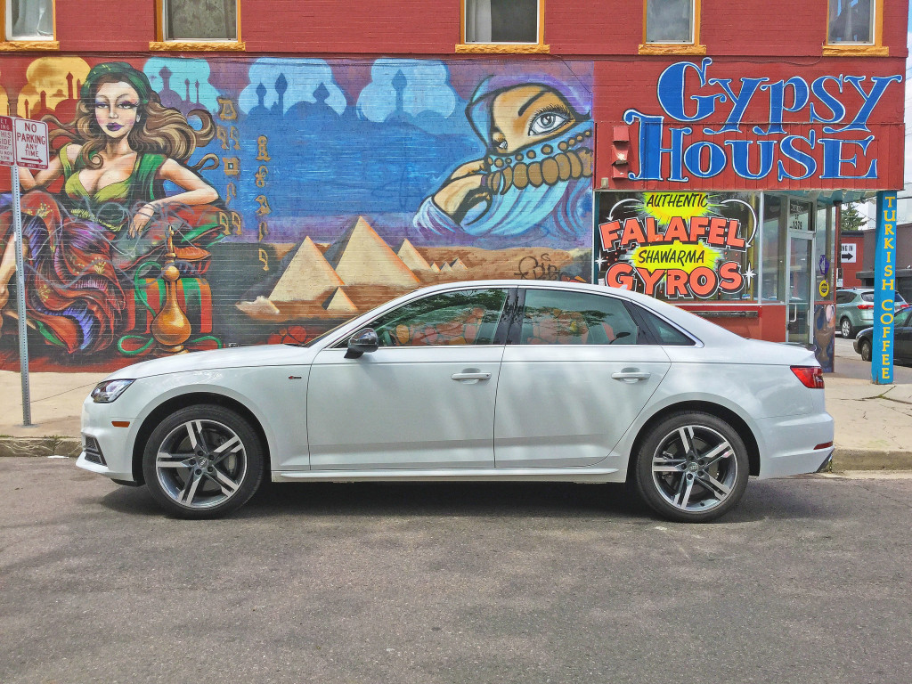 The all new 2017 Audi A4 parked outside the Gypsy House in the Cheesman Park neighborhood of Denver, CO
