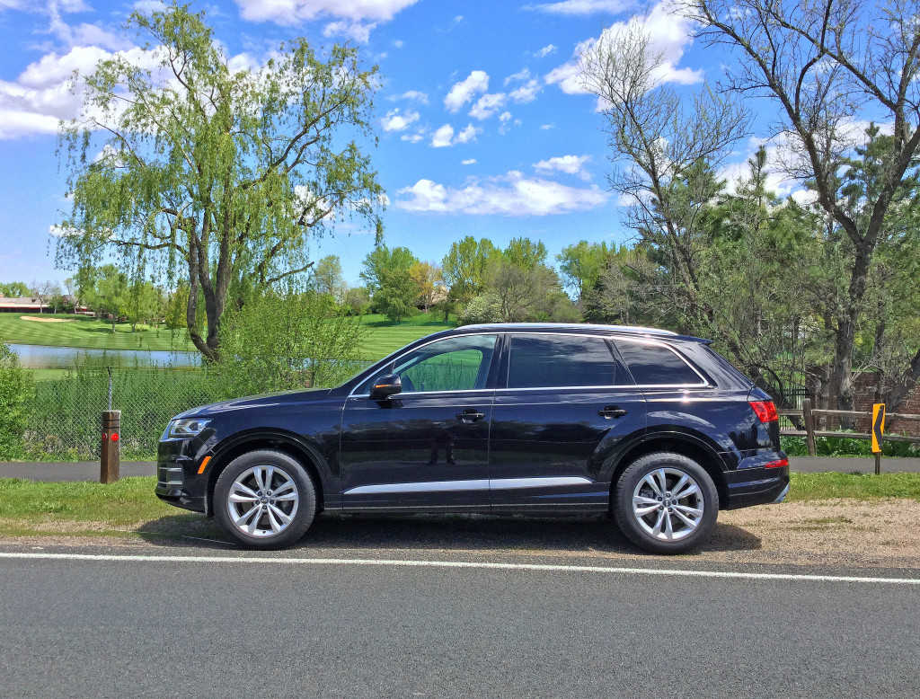 A side view of the Audi Q7 in front of the Cherry Hills Country Club's golf course in Cherry Hills Village, Colorado.