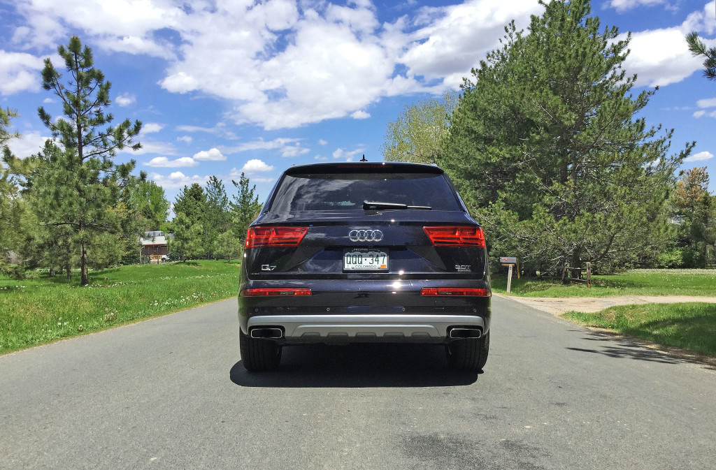 The rear view of the Audi Q7 on South Lafayette Street in Cherry Hills Village, Colorado