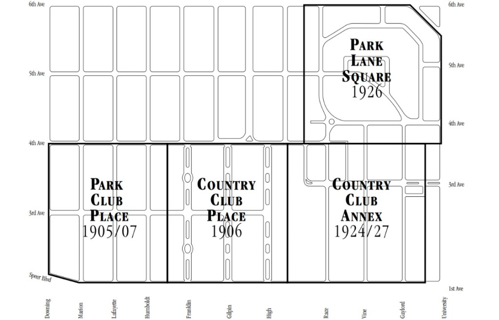 A Map of the Historic section of Denver's Country Club Neighborhood