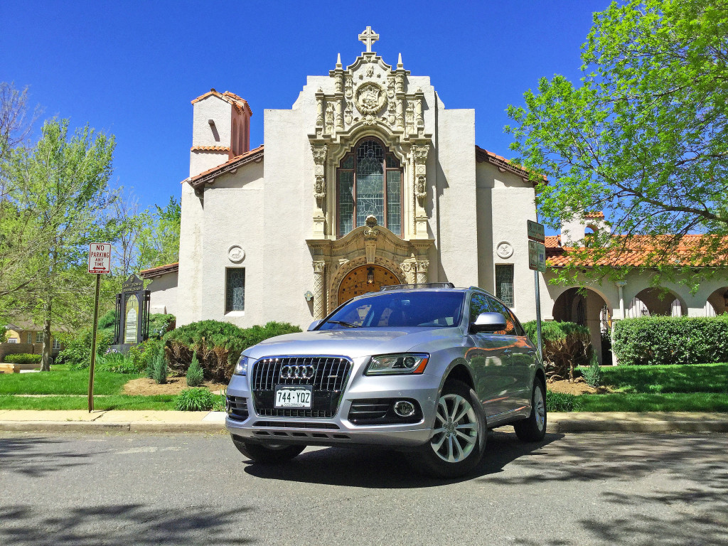 An Audi Q5 outside of the historic St. Thomas Episcopal Church located at East 22nd and Dexter in Denver's South Park Hill Neighborhood
