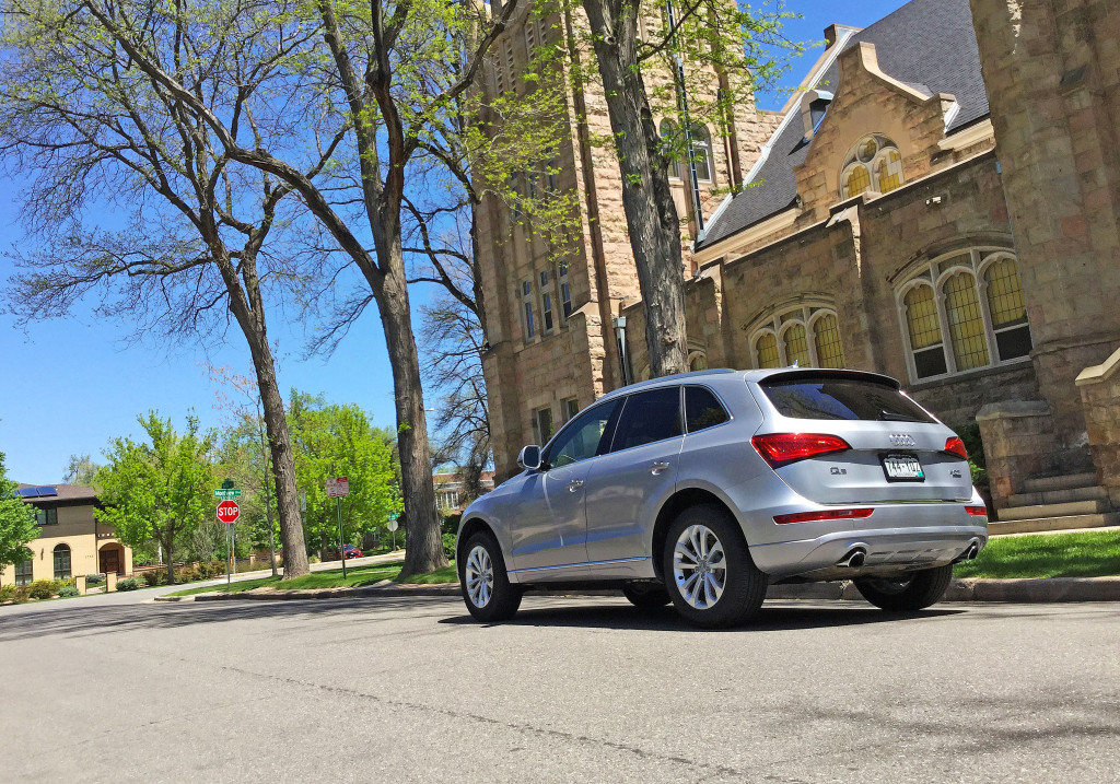 An Audi Q5 outside of Montview Boulevard Presbyterian Church in Denver's South Park Hill Neighborhood
