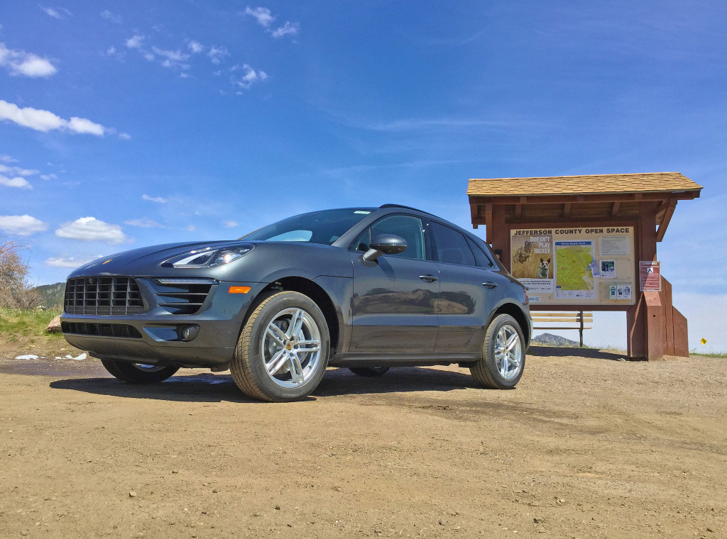 2017 Porsche Macan S Review - The Porsche Macan parked near the Jefferson County Open Space informational sign at White Ranch Park.
