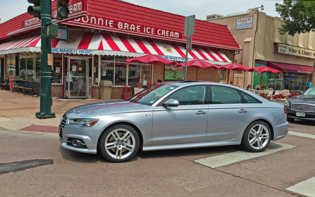 Side view of the 2016 Audi A6 in front of Bonnie Brae Ice Cream in Denver's Belcaro Neighborhood