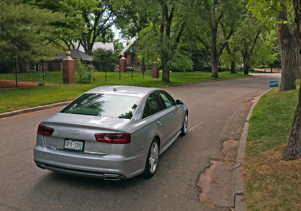 Rear view of the 2015 Audi A6 near the intersection of Ohio Way and South Steele Street in the Belcaro Neighborhood of Denver, CO
