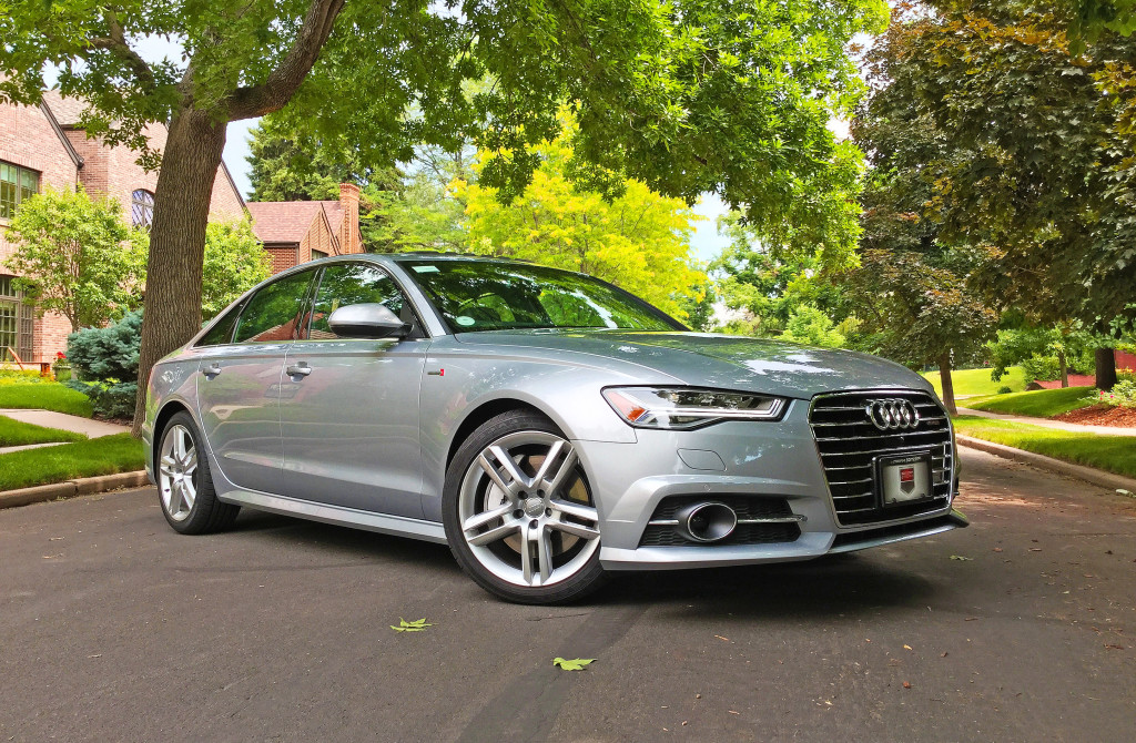 Side view of the 2016 Audi A6 near the intersection of South Cove Way and Kentucky Avenue in Denver's Belcaro Neighborhood