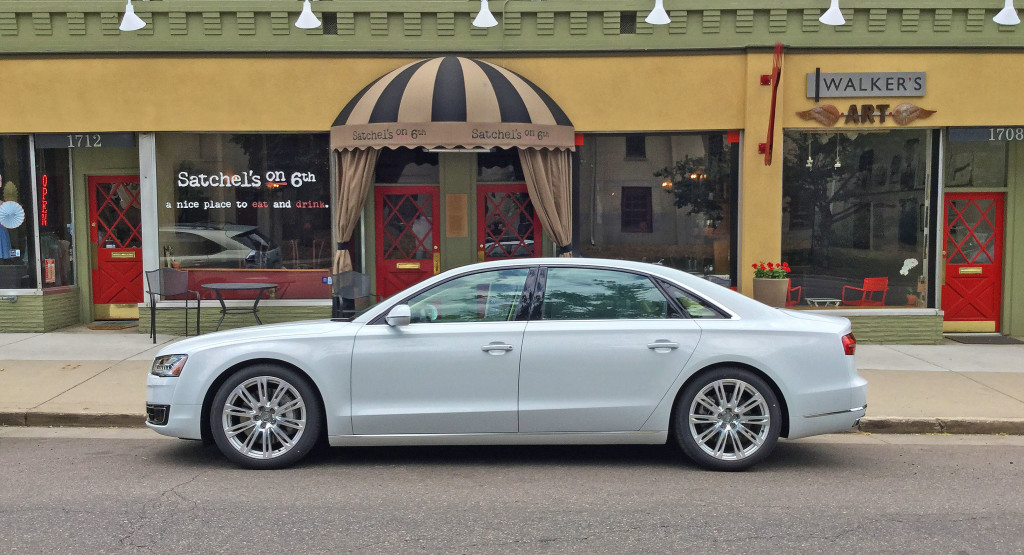 2106 Audi A8L parked in front of Walker's Art and Satchel's on 6th Avenue in Denver's Country Club Neighborhood