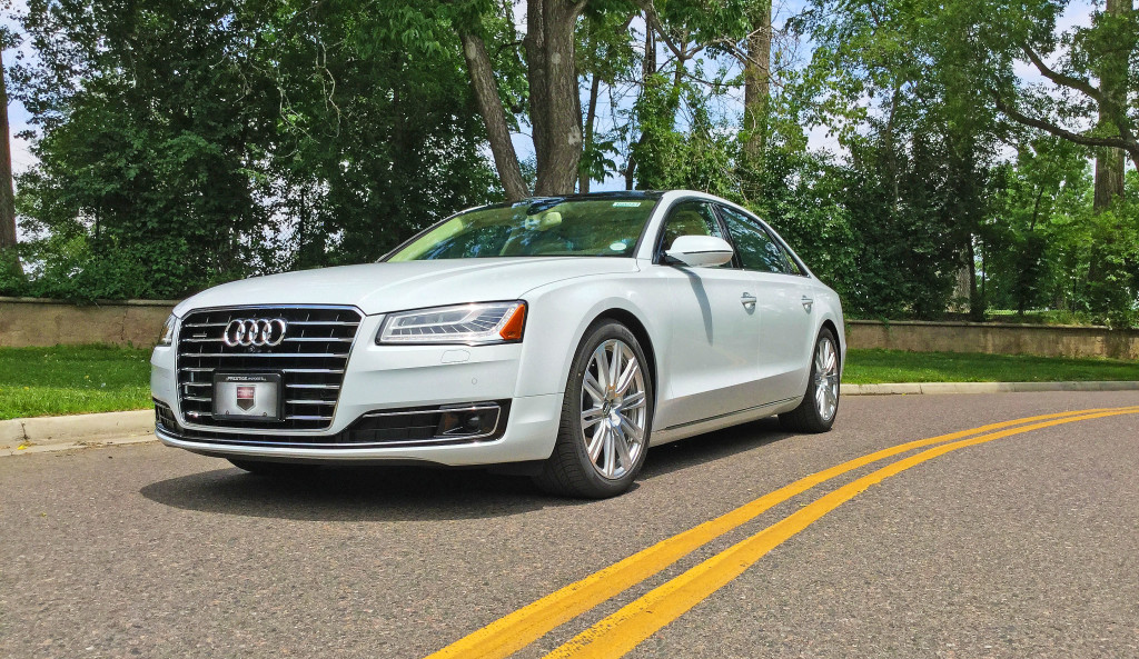 The 2016 Audi A8L near the intersection of East Bayaud Avenue and South Marion Parkway in the Denver Country Club neighborhood