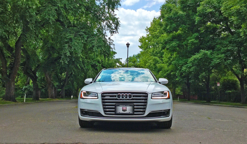 The front view of the 2016 Audi A8L on Gilpin Street betwen 3rd and 4th Avenues in Denver's Country Club Neighborhood