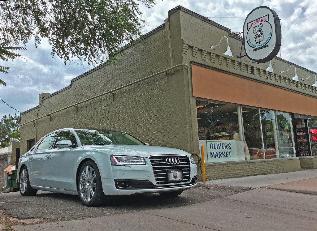 The 2016 Audi A8L parked outside Oliver's Market on 6th Avenue in Denver's Country Club Neighborhood