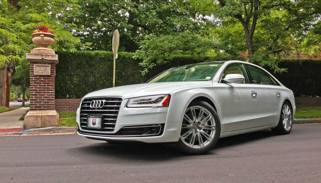 Side view of the 2016 Audi A8L parked at the corner of Humboldt Street and 4th Avenue in Denver's Country Club Neighborhood