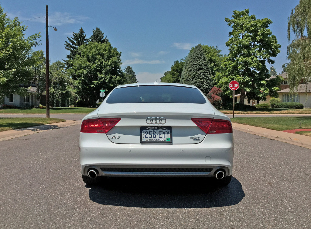 Rear view of the 2016 Audi A7 near the intersection of Cedar Avenue and Cherry Street in Denver's Hilltop neighborhood