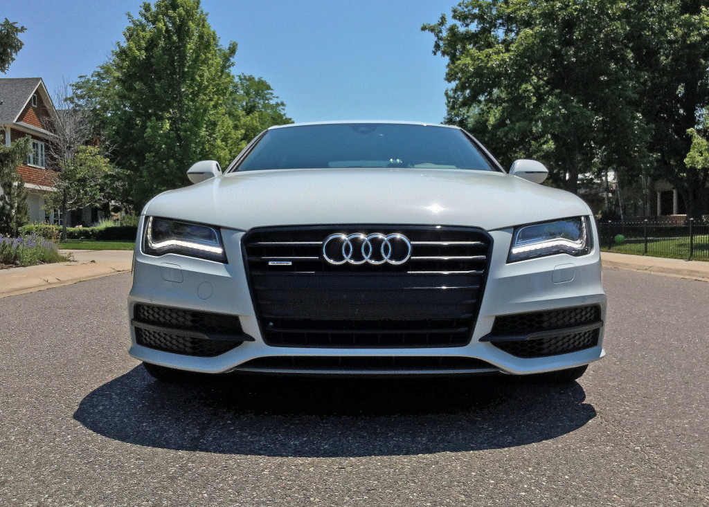 Front view of the 2016 Audi A7 parked near Cedar Avenue and Cherry Street in Denver's Hilltop neighborhood