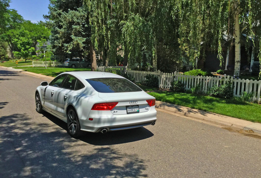 Rear view of the 2016 Audi A7 on a street in the Hilltop neighborhood of Denver, CO