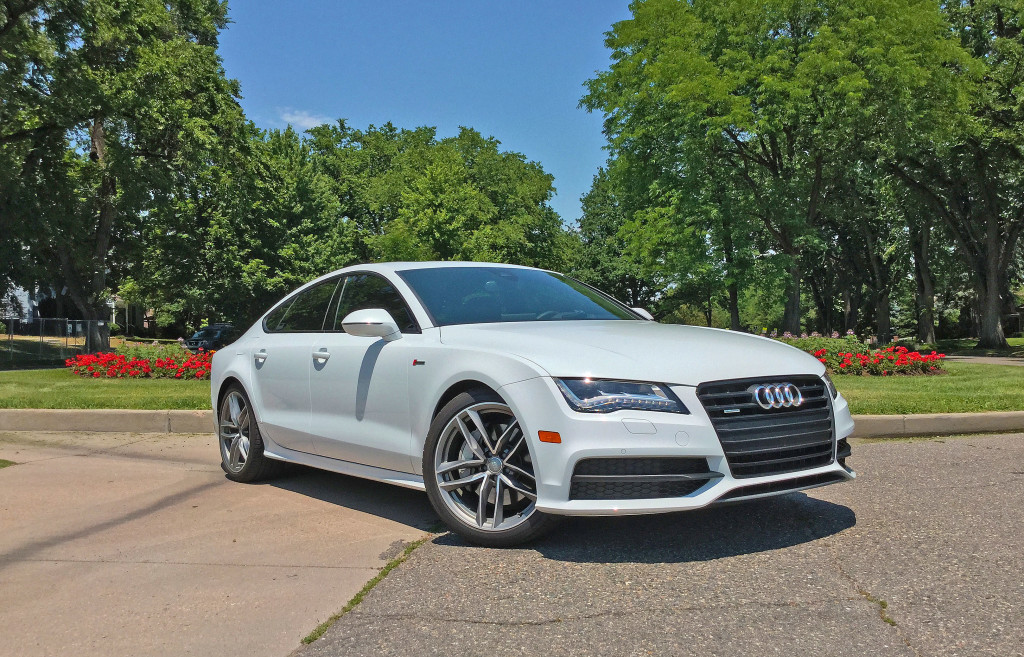 The 2016 Audi A7 parked at the intersection of East 3rd Avenue and Clermont Street in Denver's Hilltop neighborhood