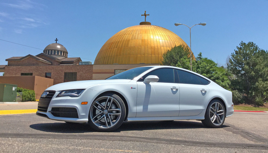 A 2016 Audi A7 parked in front of the Assumption Cathedral on the border of Denver's Hilltop neighborhood and Glendale