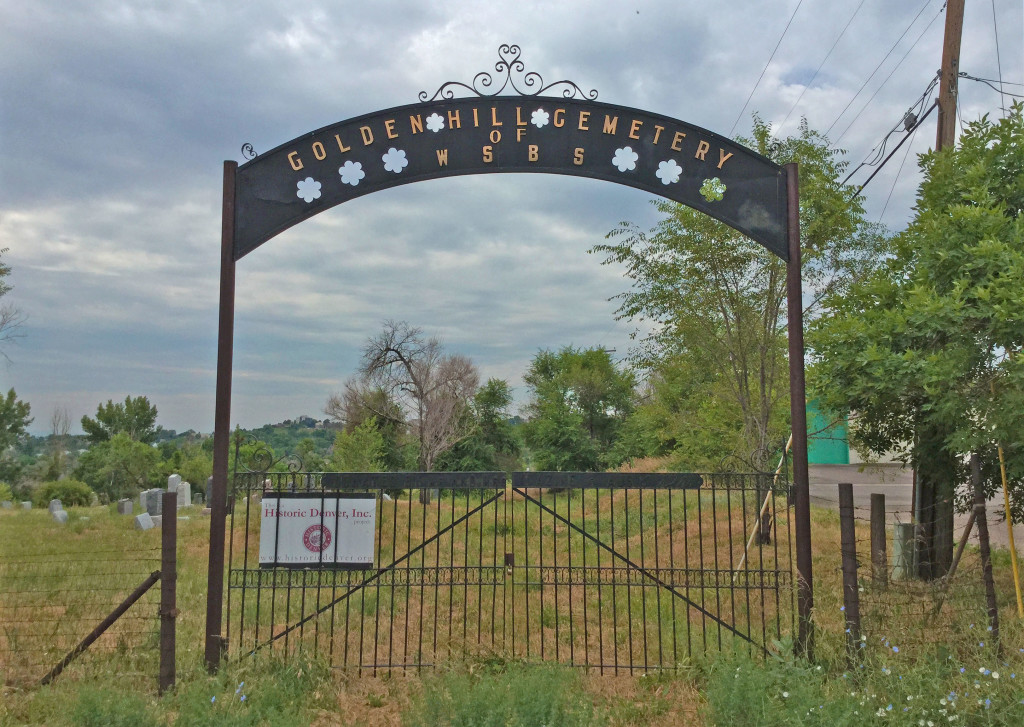 The gates of Golden Hill Cemetery at West Colfax and Welch Street in Lakewood, CO
