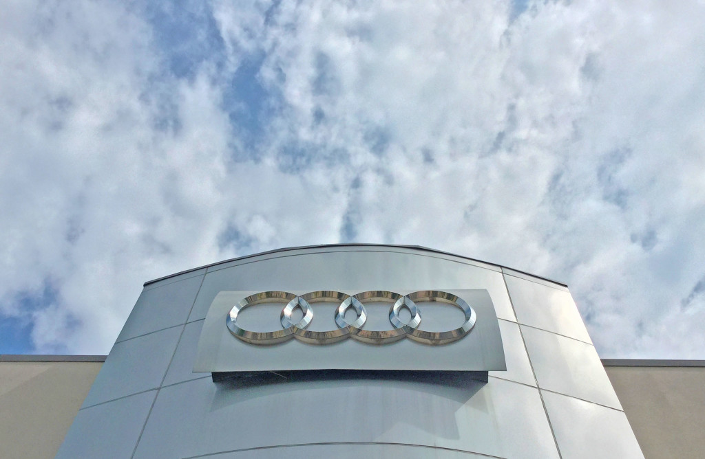 Audi marquee at Prestige Imports on West Colfax in Lakewood, CO